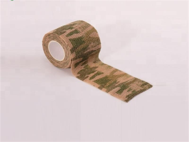 Custom camo design nonwoven finger elastic self sticky military cohesive bandages for thumb finger head armor wraps fractures