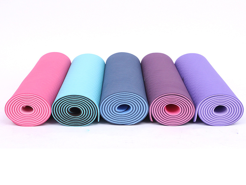 Comfortable Soft Eco Friendly Waterproof Two Tones Custom Print TPE Yoga Mat